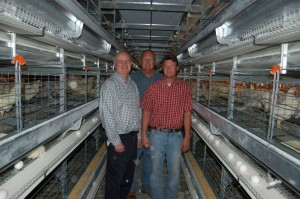 Dick, Bill, and Doug Patmos in new coop